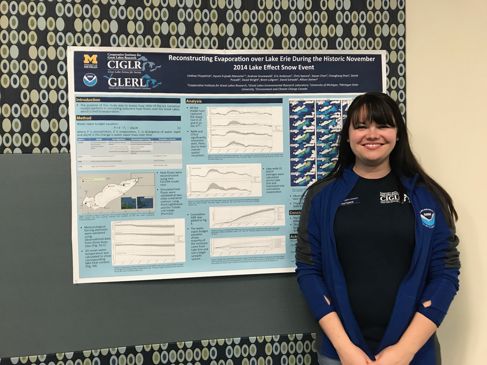 CIGLR's Lindsay Fitzpatrick presents her poster titled: Reconstructing Evaporation over Lake Erie During the Historic November 2014 lake Effect Snow Event. Photo Credit: Michele Wensman.