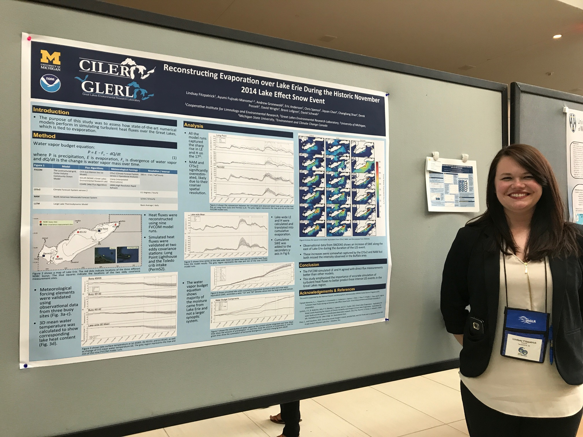 CIGLR's Atmospheric Data Analyst, Lindsay Fitzpatrick, presents her poster titled: Reconstructing Evaporation over Lake Erie During the Historic November 2014 Lake Effect Snow Event. Photo Credit: Michele Wensman.