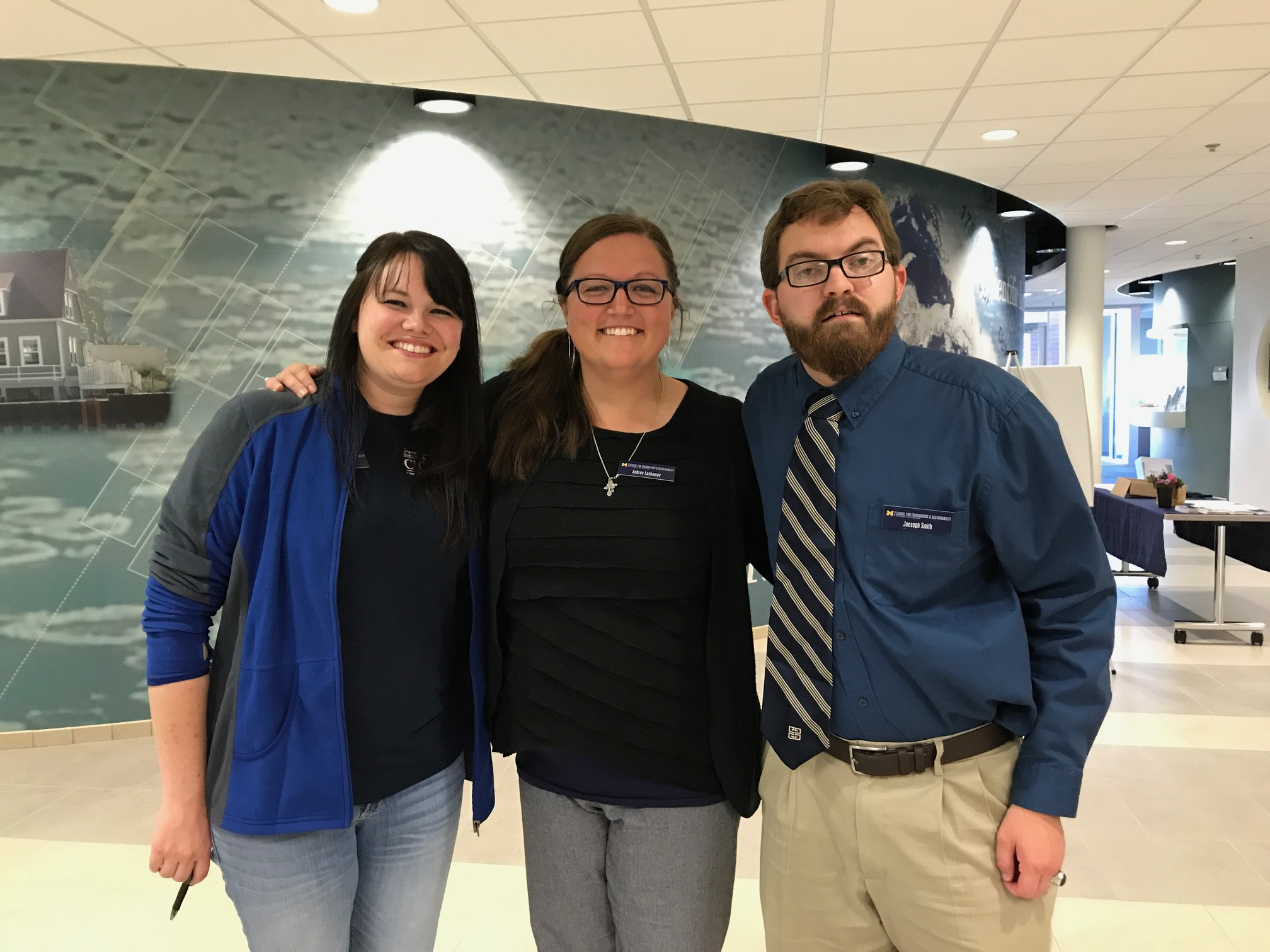 L-R: CIGLR Atmospheric Data Analyst Lindsay Fitzpatrick, Communications Specialist Aubrey Lashaway and General Programmer Joeseph Smith enjoying the CIGLR Annual Partners Meeting. Photo Credit: Michele Wensman.