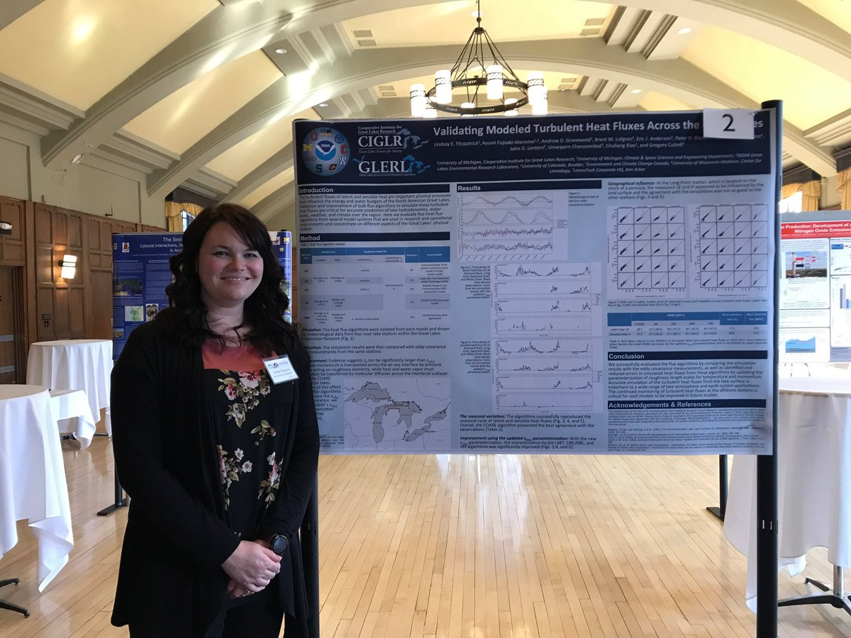 CIGLR's Lindsay Fitzpatrick presents about model verification on heat fluxes and evaporation over the Great Lakes. Photo Credit: Michele Wensman.