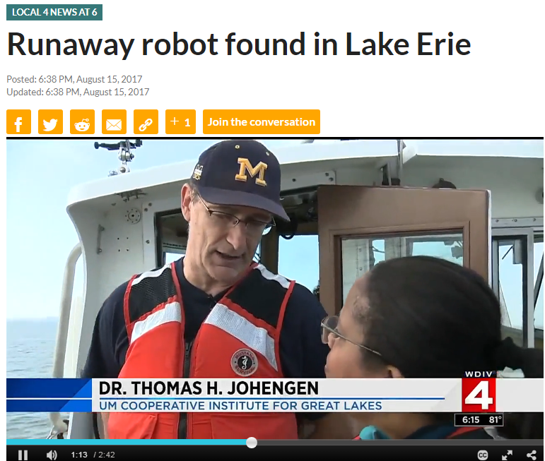 Runaway Robot Found in Lake Erie (2/2)