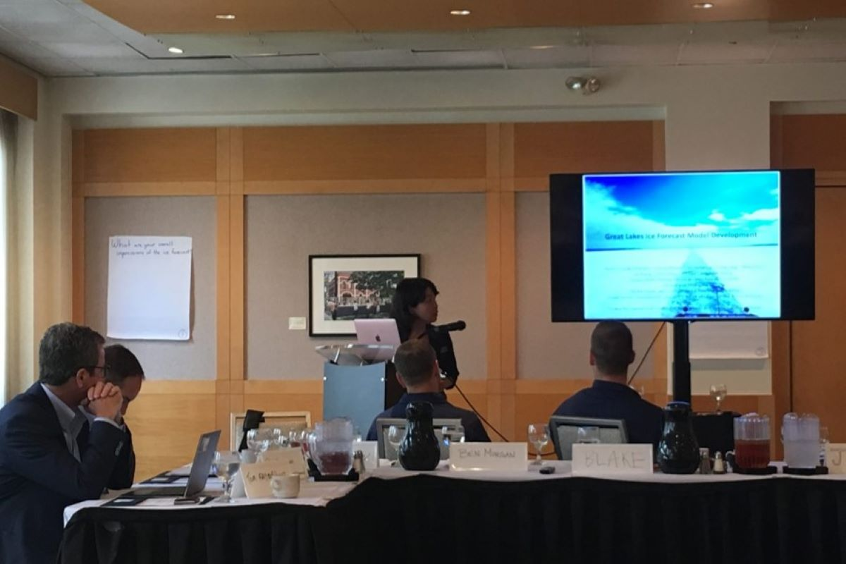 Assistant Research Scientist Dr. Ayumi Fujisaki-Manome at the Great Lakes Ice Forecast Needs Assessment Workshop. Photo Credit: Devin Gill.