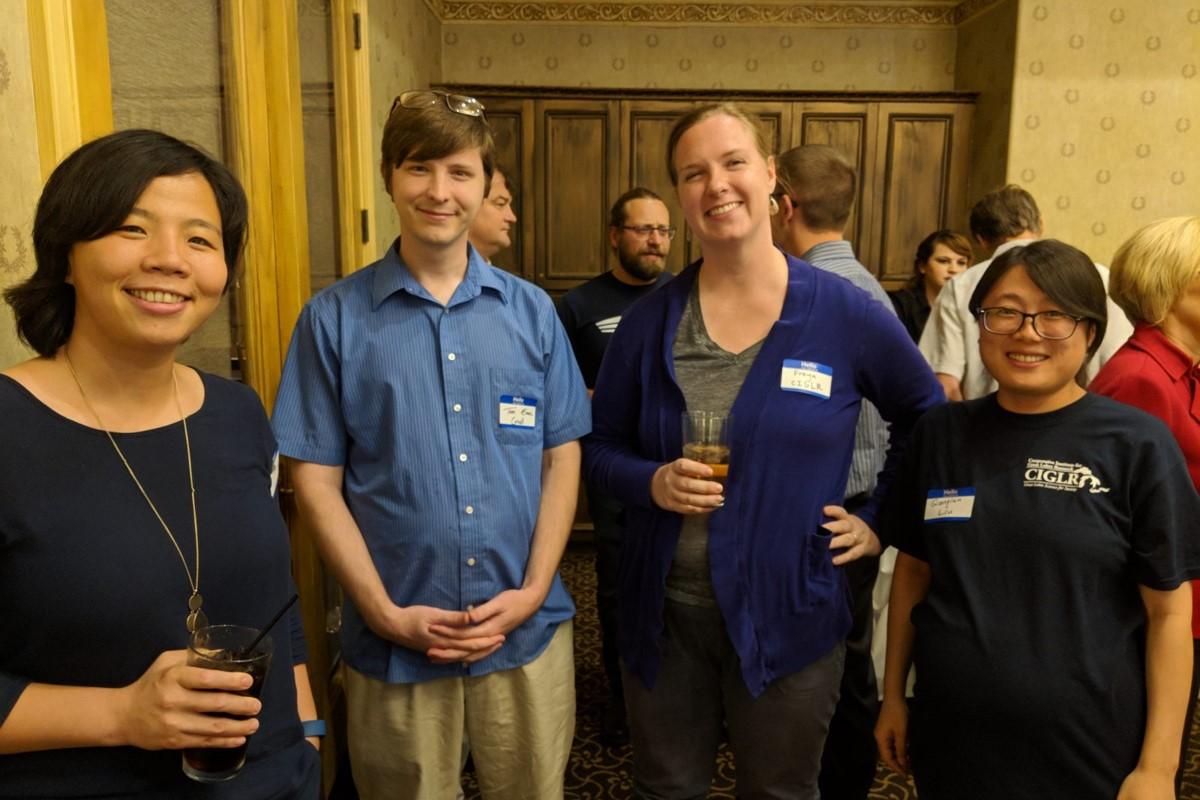 CIGLR Postdocs at the All Partners Meeting. (L-R) Drs. Tian Guo, Thomas Evans, Freya Rowland, and Qianqian Liu. Photo Credit: Michele Wensman.