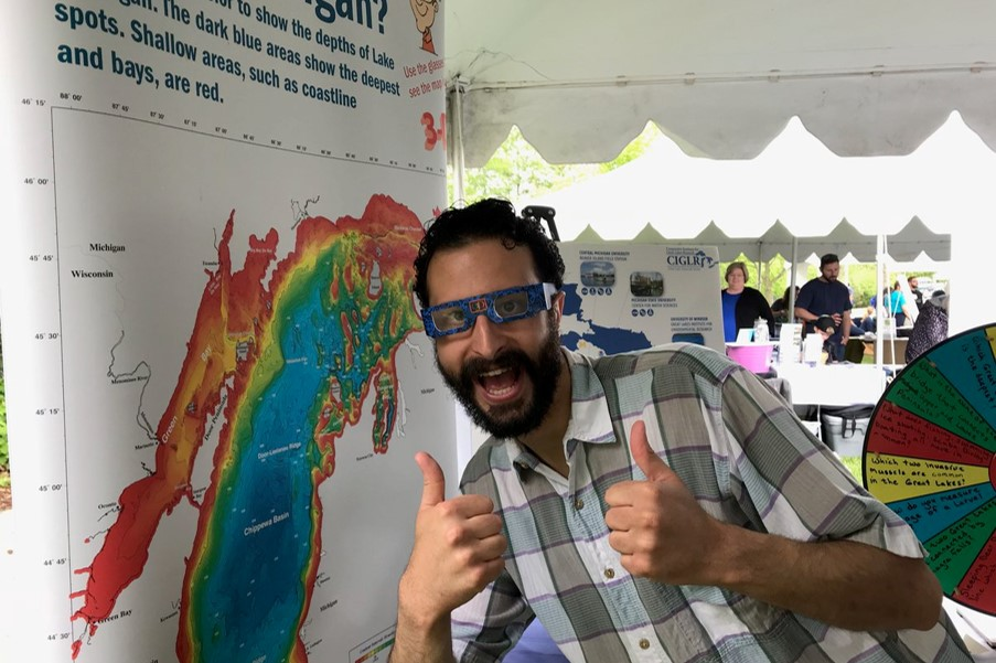 Representative Yousef Rabhi of Michigan's 53rd House District stopped by to check out our Great Lakes activities at Huron River Day! He really enjoyed the 3D map of Lake Michigan & interacting with guests at the event. Thank you for all that you do for Ann Arbor & our state!