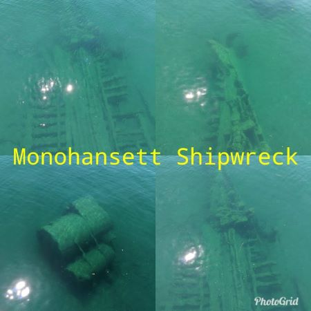 The #Monohansett wrecked in 1907, it sought refuge from #LakeHuron's nasty November weather. The crew & vessel were protected from a storm, but not the engine room fire. It burned to the waterline & today is a popular @ThunderBayNMS site. More about this wreck: http://thunderbaywrecks.com/3d-wreck-monohansett.php